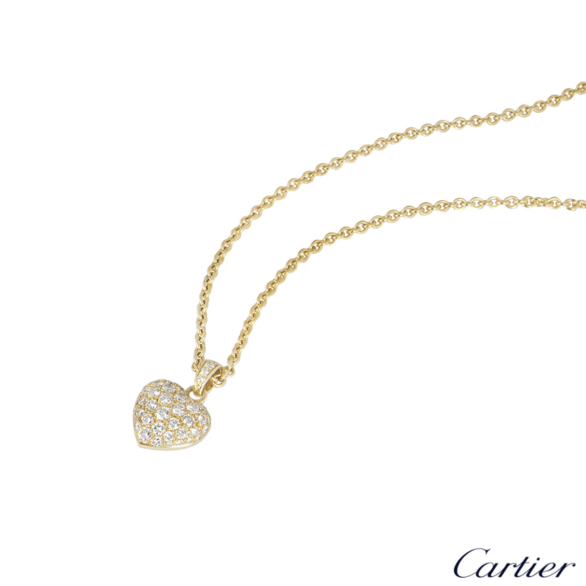 Cartier Yellow Gold Diamond Set Heart Pendant